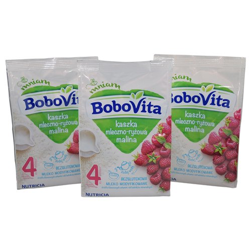 Bobovita Milk and Rice Gruel with Raspberries for Babies (Pack of 3) by Bobovita