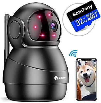 【32gbカード付】 ネットワークカメラ Wifi 小型 監視カメラ 1080p 200万高画素 ドーム型 防犯