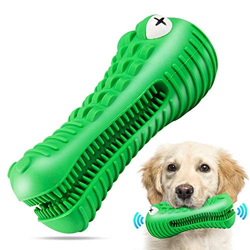 Dog Chew Toys for Aggressive Chewers Large Breed, RexSoul Dog Toothbrush & Squeaker Chew Toys, Reduces Plaque & Tartar Teeth Cleaning Play Toys Tough Tear-Resistant Durable Dog Toys
