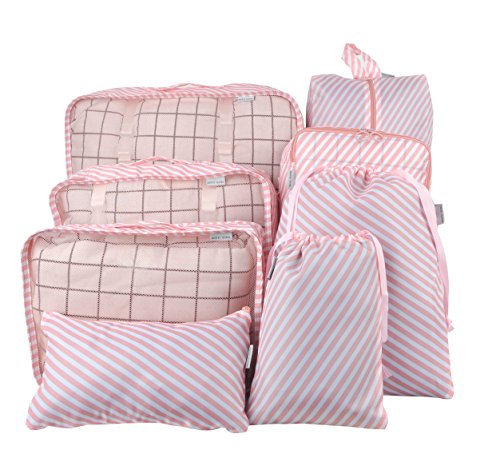 8 Set Packing Organizer,Waterproof Mesh Travel Luggage Packing Cubes with Laundry Bag Shoes Bag Pink (Striped Shoe Organizer)