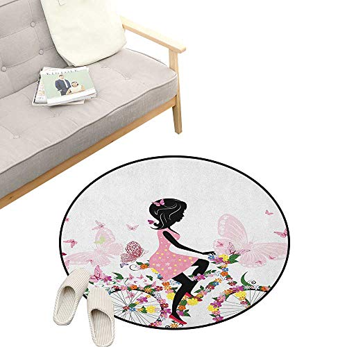 - Bicycle Custom Round Carpet ,Girl in a Pink Dress Riding a Bike with Colorful Flowers and Romantic Butterflies, Dorm Room Bedroom Home Decorative 47