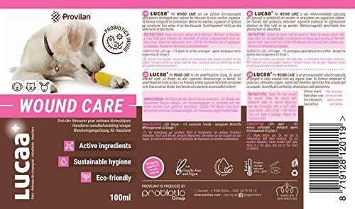 LUCAA+ Nettoyant Blessures/Plaies Chiens et Chats 100ml | Cicatrisant pour Blessures aux Probiotiques | Bio, Vegan & Naturel