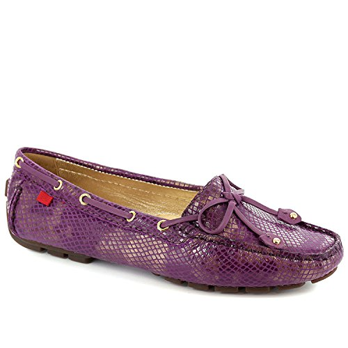 Marc Joseph New York Womens Snakeskin Driver Shoes with Bowtie Purple Gold Size 5.5