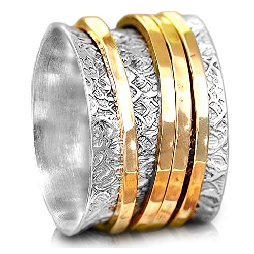 (Boho-Magic 925 Sterling Silver Spinner Ring with Brass Spinning Rings for Women | Fidget Meditation Anxiety Wide Band | Statement Chunky Jewelry Size 6-11 (7.5))