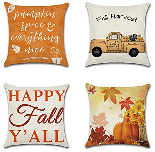 JUMUU Set of 4,Cotton-Linen Decorative Happy Thanksgiving Day Pillow Covers Fall Decor Cotton Linen Give Thanks Sofa Throw Pillow Case Cushion Covers 18 X 18 Inch (Thanksgiving Theme)
