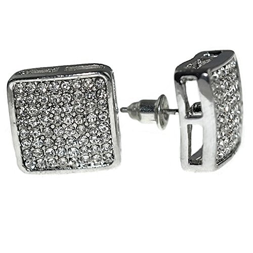 Square Rounded Earrings - Huge 15mm Silver Tone Rounded Square Iced-out Big XL Large Micro Pave Hip Hop Jumbo Earrings