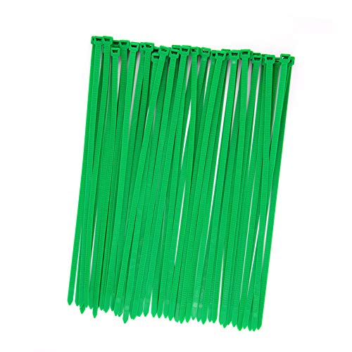 Premium Strong and Long 14 Inch Tree Grass Green Color Cable Ties, Industrial Durable 150 LBS UV Resistant Zip Ties, Heavy Duty Cable Management for Large Objects(50 Pack, Outdoor Gardening Fence Use)