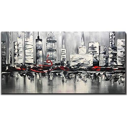 Asdam Art Cityscape Wall Art,Hand Painted Modern Oil Paintings on Canvas City Artwork Grey Abstract Wall Decor Black and White Artwork for Home Walls 24 x 48 inch