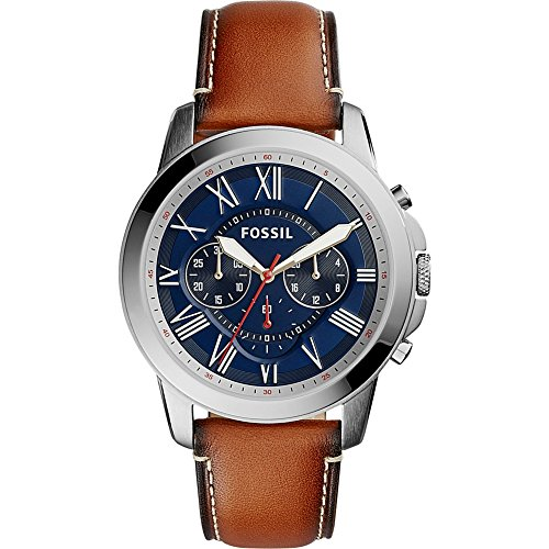 Fossil Men's Quartz Stainless Steel and Leather Casual Watch, Color:Brown (Model: FS5210)