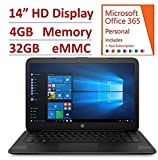2018 HP 14' Flagship Laptop with 3x Faster WiFi - Intel Dual Core up to 2.48GHz, 4GB RAM, 32GB eMMC, free 1-yr Office 365, 1TB OneDrive Cloud, DTS Studio, HDMI, Webcam, USB 3.1, Win 10