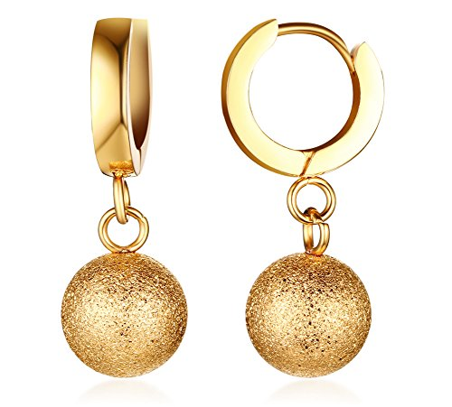 XUANPAI Stainless Steel 18k Gold Plated Sandblast Ball Huggie Hinged Dangle Earrings for Women Girls