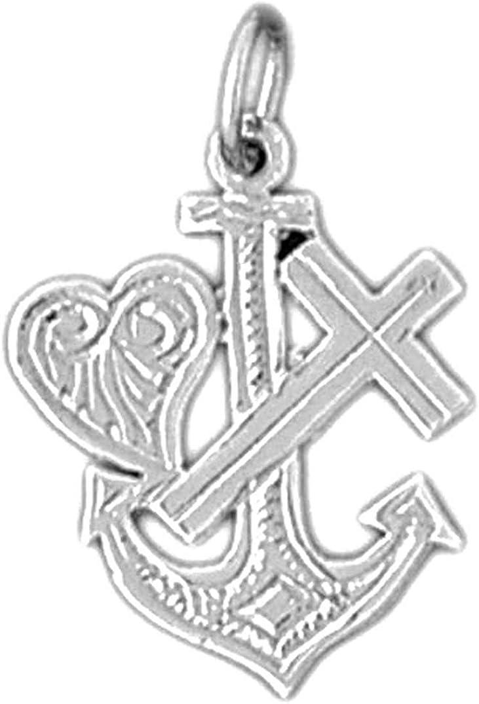 Jewels Obsession Cross Sterling Silver 925 Cross Anchor,And Heart Pendant Anchor,And Heart Pendant 22 mm