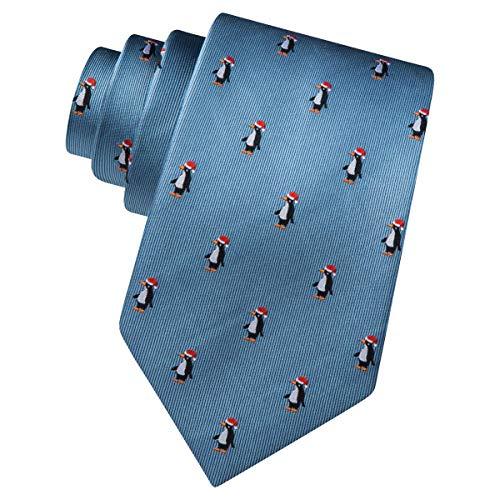 Men's 100% Silk Whimsical Christmas Penguin in Santas Hat Holiday Tie Necktie (Slate Blue)