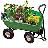 Yardeen Garden Dump Cart Wagon Carrier Steel Frame Pneumatic 650 lb Capacity Green