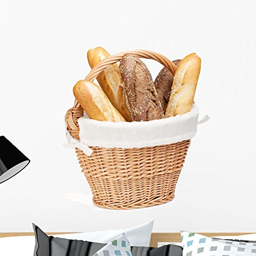 Wallmonkeys Various of French Baguette Basket Wall Decal Peel and Stick Graphic WM321138 (24 in H x 20 in W)
