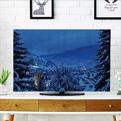 (L-QN Cover for Wall Mount tv eWinter Pine Trees Forest in European Woodland by The Mountains Nature Cover Mount tv W36 x H60 INCH/TV 65
