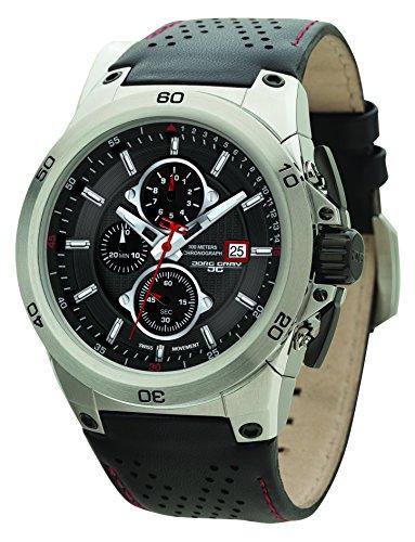 Jorg Gray JG7800-21 Chronograph Black & Red Leather Strap Men's Watch