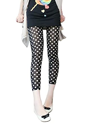 9fa70863f709e Image Unavailable. Image not available for. Color: BlackTemptation Womens  DNEW8011 Polka Dot Ninth Leggings Stockings