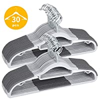 TIMMY Coat Hanger 30 Pack Heavy Duty Plastic Hangers with Non-Slip Design, Space-Saving Clothes Hangers, 0.2 Inch Thickness, 360° Swivel Hook, 16.5 Inches Gray