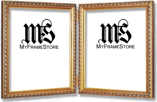 Imperial Frames 4 by 6-Inch/6 by 4-Inch Picture/Photo Double Frame, Thin Fancy Rope Shaped Gold Molding