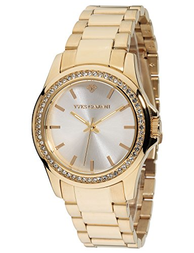 Yves Camani Montpellier Women's Wrist Watch Quartz Analog Stainless Steel Gold Plated Silver Dial