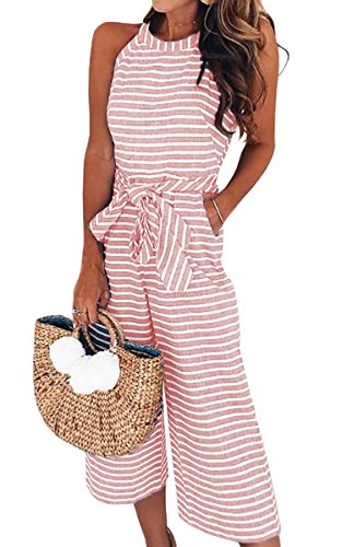 (ECOWISH Women's Summer Striped Sleeveless Waist Belted Zipper Back Wide Leg Jumpsuit Romper with Pockets 0930 Pink X-Large)