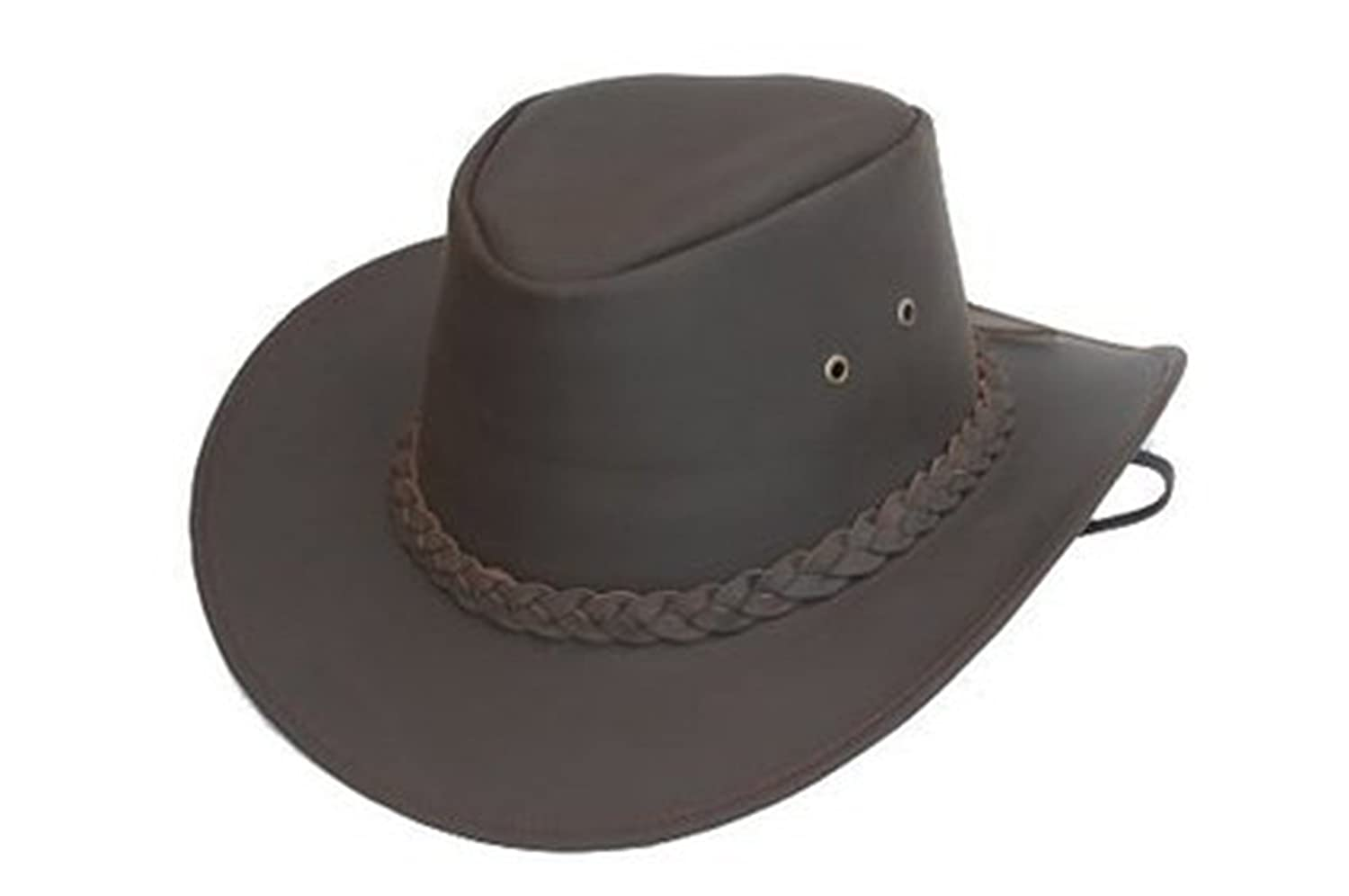 NEW BROWN LEATHER AUSSIE STYLE HAT 4 SIZES From £18.49