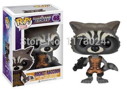 Hot Sale Funko POP # 48 Sci-fi Movie Guardians of The Galaxy Rocket Raccoon Vinyl Bobble Head Figure Toys New Box