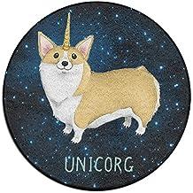 Cute Unicorn Corgi Round Floor Rug Doormats For Dining Room Bedroom Kitchen Bathroom Balcony
