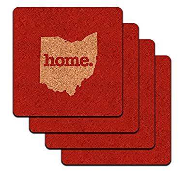 Ohio OH Home State Low Profile Cork Coaster Set - Solid Red