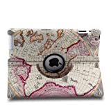Auto Sleep/Wake Function 360 Degree Rotating Smart Case Cover for 9.7 inch Apple iPad 2/3/4 with a Stylus as a Gift--World Map Pattern,Purple