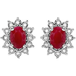 Kate Middleton Diana Inspired 10K White Gold Real Round Diamond & Oval Red Ruby Earrings