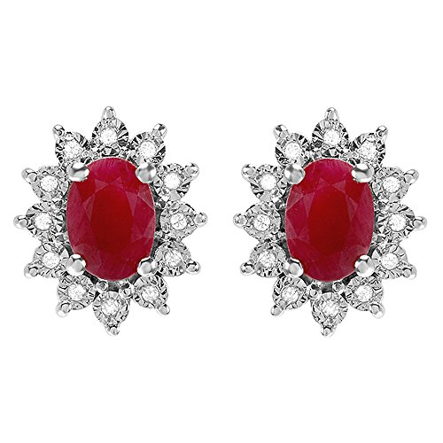 Dazzlingrock Collection Kate Middleton Diana Inspired 10K Real Round Diamond Oval Red Ruby Earrings, White Gold