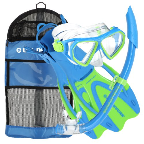 - U.S. Divers Dorado JR Mask Fins Snorkel Set, Fun Blue, Large