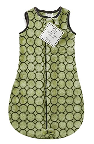 SwaddleDesigns Microfleece Sleeping Sack with 2-Way Zipper, Brown Mod Circles on Lime, 0-6MO