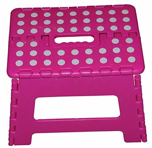 11'' Super Quality / Heavy Duty Folding Step Stool with handle, Non Slip for Adults and Kids, Saves Space, / Super Handy - Pink by Homeco Design