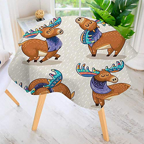 aolankaili Hand Screen Printed Tablecloth- Inspired Elks with Embellished Antlers Friendly Modern Printed Spill Proof Cloth Round Tablecloths 40