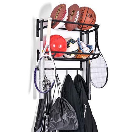 Sunix Sports Equipment Storage, Ball Storage Rack Basketball Holder Wall Mount Shelf with Hooks, 2 Racks, Black
