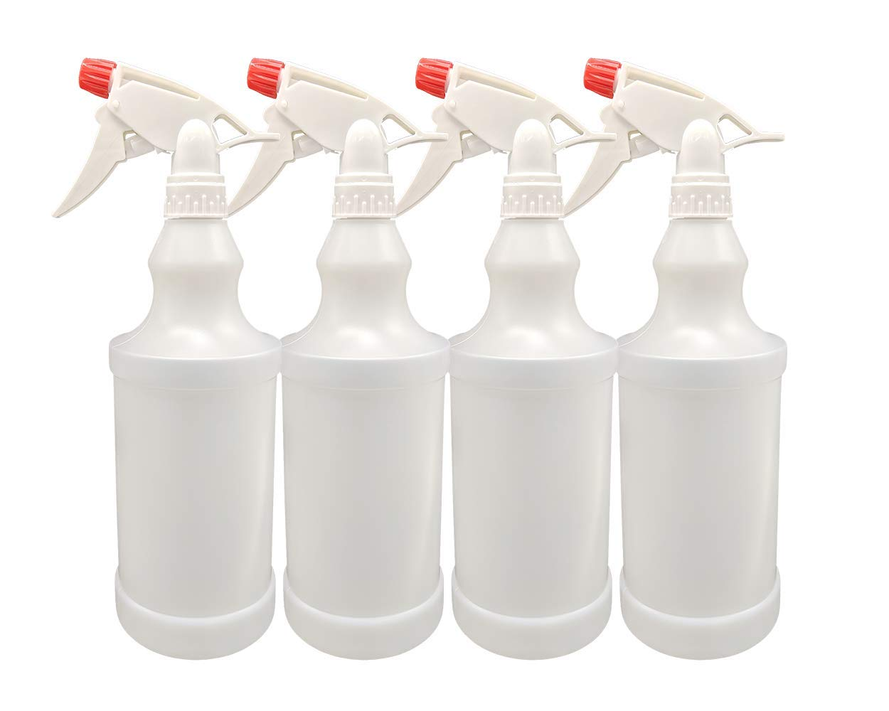 Plastic Spray Bottles Leak Proof Adjustable Nozzle Empty 32 oz - 1 Liter Value Pack of 4 with Commercial Grade Trigger Multi-Purpose Use for Cleaning Solutions, Planting, Cooking by AG