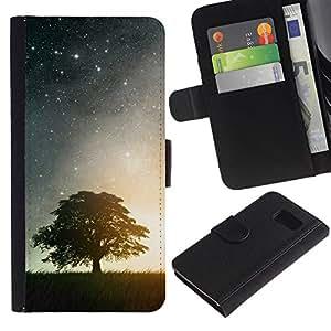KLONGSHOP // Tirón de la caja Cartera de cuero con ranuras para tarjetas - HERMOSA NOCHE ESTRELLADA ESTRELLAS Y ÁRBOL - Samsung Galaxy S6 //