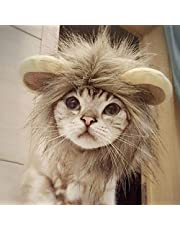 NAMSAN Pet Halloween Costume Cat Lion Mane Wig Halloween Outfit Small Dog Lion Hat