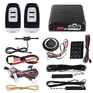 EASYGUARD EC002 Smart Key RFID PKE Car Alarm System Passive Keyless Entry  Remote Engine Start Starter Push Start Button & Touch Password Entry  Hopping