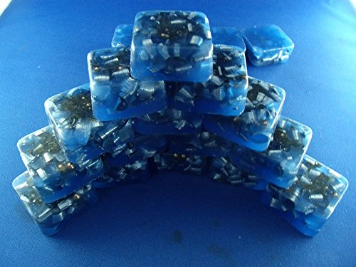 16 Mini Cube Tower Busters Light Blue Orgone Generator Energy Accumulator PERFECT GIFTING TOOL!!!! Made 7.83/432/528Hz Frequency with OM Chants Many Beautiful Ingredients!! ()