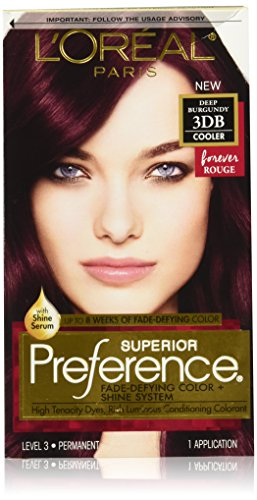 L'Oréal Paris Superior Preference Fade-Defying + Shine Permanent Hair Color, 3DB Deep Burgundy, 1 kit Hair Dye
