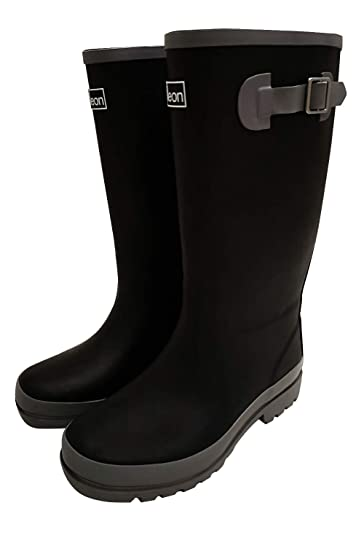 f1f6d3b37f02 Jileon Wide Calf All Weather Durable Rubber Rain Boots for Women-Fits Calf  Sizes Up