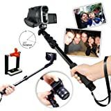 First2savvv ZP-188A01 black Self-portrait extendable telescopic handheld Pole Arm monopod Camcorder/Camera/mobile phone tripod mount adapter bundle for Sony NEX-5RK