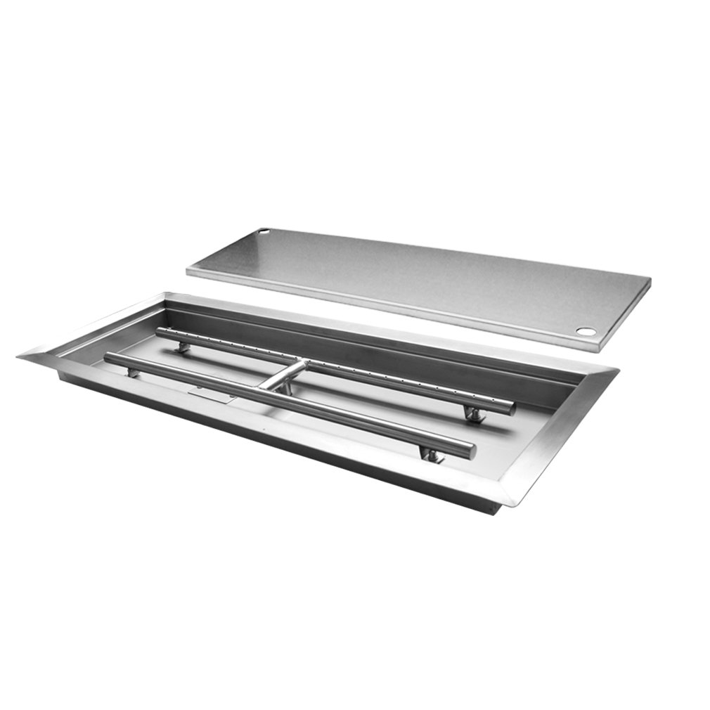 Skyflame Rectangular Stainless Steel Drop-in Fire Pit Pan and Burner with Burner Cover, 36 by 12-Inch by Skyflame