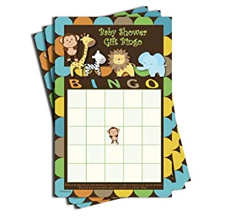 Gift Bingo   Baby Shower Game   Jungle Themed (50 Sheets)