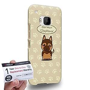Case88 [HTC One M9] 3D impresa Carcasa/Funda dura para & Tarjeta de garantía - Art Hand Drawing German Shepherd Cartoon Puppy