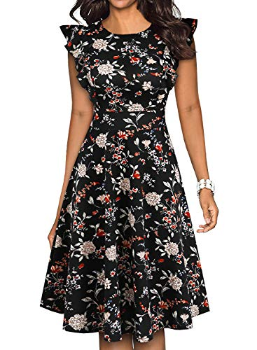 (YATHON A Line Dresses for Women Black Vintage White Floral Print Ruffles Sleeveless Knee Length Stretchy 50 s Fit and Flare Dresses (M, YT001-Black Floral)